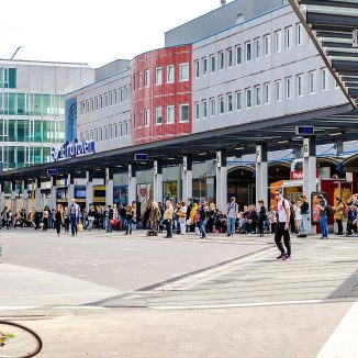 Eindhoven, Netherlands- May 24, 2015: Crowd of people in Eindhoven railway station. The station is the oldest, it was opened on 1 July 1866